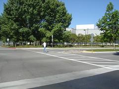 crosswalk btwn E parking lot and D (liliacarol) Tags: sunnyvale pedestrian conditions