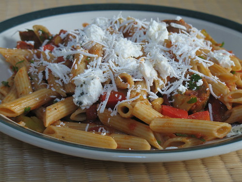 Multi-grain penne rigate with goat cheese and ricotta salata