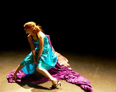 alone on stage (lanuiop) Tags: blue solitude alone sitting dress purple fabric creativecommons onstage hunched