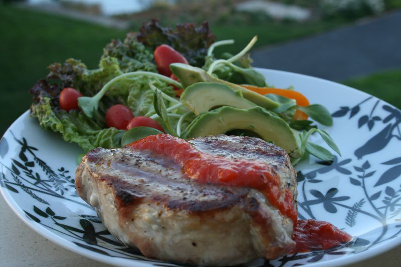 Grilled Pork Chop and Salad