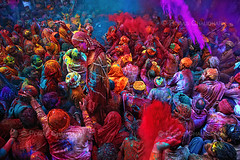 Burst of Red ( Poras Chaudhary) Tags: red india colors festival colorful crowd holi 2470mm nikond3