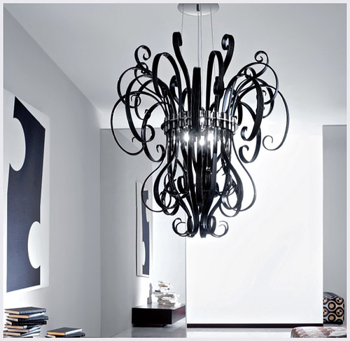 Murano Imports Black Curled Chandelier