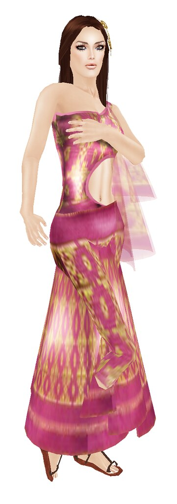 Free Songket Gold & Red Dress