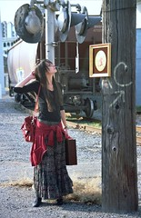 Black Gypsy Journey 1 (neohypofilms) Tags: railroad urban slr art film girl female train 35mm painting hair landscape industrial exterior dress boots telephone tracks trains skirt ukraine pole hippie nomad russian gypsy traverler