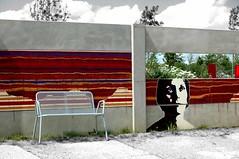 Grafitti - BuGa 07 (bynini [slightly away]) Tags: bw colour germany bench stripes nikond70s ddr buga grafitty ols supershot 07women