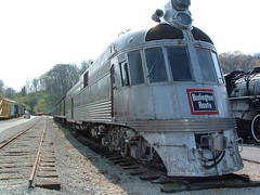1939 Silver Charger of Burlington #9908 (Cindy シンデイー) Tags: railroad museum burlington train silver diesel stlouis railway mo missouri transportation zephyr locomotive charger 1939 streamliner httpwwwmuseumoftransportorg