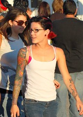 Rat Fink Party 2007 Girl with boobie tattoo (Deep Orbit) Tags: california hot tattoo interestingness rat explore rod sleeve palmdale 50000 2007 lacr ratfinkparty rustrod boobietattoo
