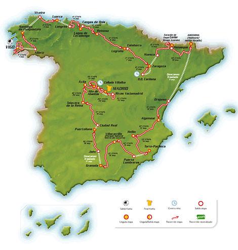 Mapa Vuelta Ciclista España 2007