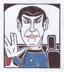 "Spock and Driving Bad (Mike ""Dakinewavamon"" Kline) Tags: startrek art star drawing spock vulcan ussenterprise mikekline badspock dakinewavamon"