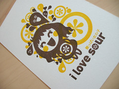 she loves sour : ) (inkdesigner) Tags: boston illustration screenprinting gocco printmaking inker printgocco sourgirl inkdesigner