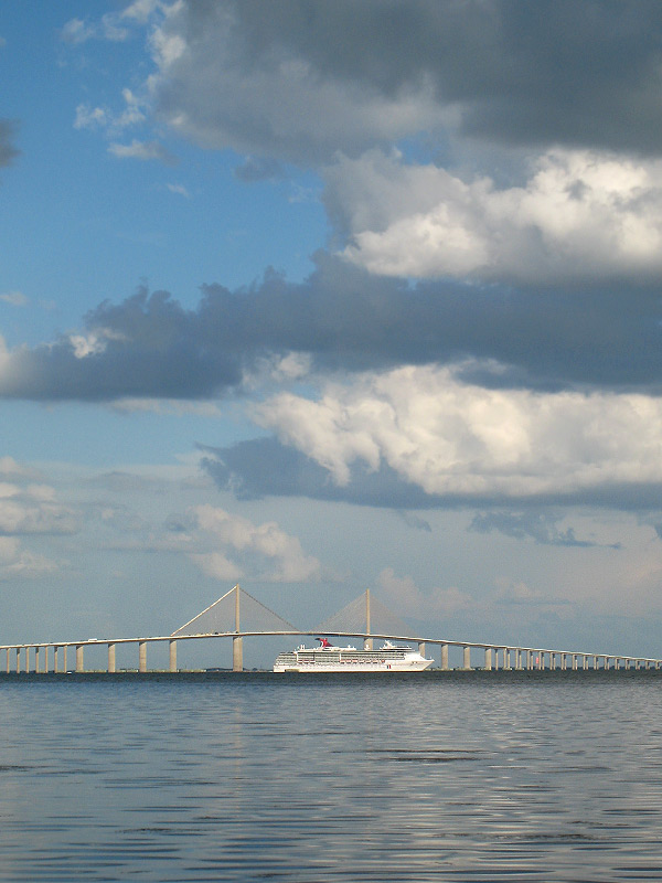 Skyway with cruise liner