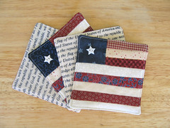 Americana Coasters (WendysKnitch) Tags: usa quilt flag fabric americana coasters