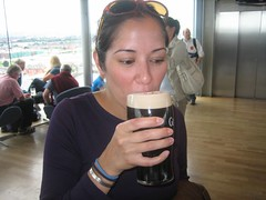 Tania, trying Guinness