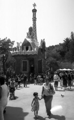 """""""mum, is it a dream land?"""" (rumorebianco) Tags: barcelona family portrait people bw film 35mm streetphotography parcguell nocrop gaud ilfordfp4plus125 contax137 zeissdistagon2828"""