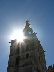 Avignon Cathedral (Salena Stinchcombe (Semmens)) Tags: blue sky sun france statue gold europe cathedral south des virgin provence notre dame avignon doms guilded davignon