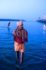 Morning Routine (mitchellk81) Tags: blue sea india man religion culture mystical tradition hinduism sadhu gujarat dwarka saurashtra pilgrimagesite