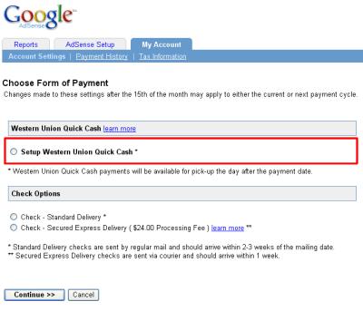 Western Union Quick Cash Option