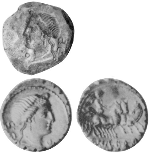 382/1 C.NAE BALB Venus Roman Republican denarius, low-relief obverse die found in Dacia and also coin of higher relief but same form, Maccarese hoard, showing the die did not make this coin despite apparent match