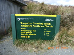 The Start (anakiwa_forever) Tags: newzealand mountains green sign yellow start nationalpark tongarirocrossing shelter doc tussock tramping roadend departmentofconservation mangatepopo