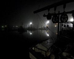 night marina (Steven Schnoor) Tags: nightphotography usa color reflection art water colors fog night marina dark boats photo washington fishing marine mood photographer  picture photograph commercial steven nautical westport fishingboats atmospheric bluecollar graysharbor westportwashington schnoor imagesmyth stevenschnoor stevenschnoor