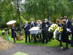 Funeral of my grandfather (Lalallallala) Tags: family summer rain umbrella finland funeral priest coffin varkaus luttila photodomino719