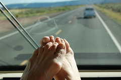 Feet for Traveling (Shirley Buxton) Tags: travel family arizona reflection feet sunglasses nikon nikond50 barefeet dashboard windshield motorhome sunglassesreflection shirleybuxton motorhometravel