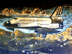 The Columbia Space Shuttle Mural (stars4esther) Tags: california desert columbia nasa socal mojave southerncalifornia july4th spaceshuttle aerospace faust californiacity kerncounty littleredbarn calcity northedwards stars4esther