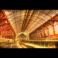 Station (Dimitri Depaepe) Tags: windows red glass station train bravo belgie rails antwerp hdr antwerpen aplusphoto superbmasterpiece frhwofavs thegoldenmermaid theroadtoheaven