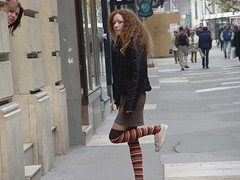 Posing (elziard) Tags: stockings girl up socks pose hair shoe long hungary leg budapest skirt sidewalk jacket warmers striped voyer eyeliner