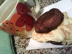 egg, blue cheese portobello mushroom sandwich & coffee w/ soy milk