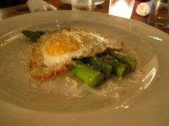 asparagus, duck egg w fresh parm