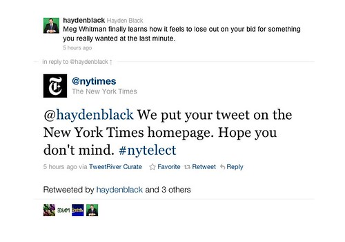 @haydenblack We put your tweet on the New York Times homepage. Hope you don't mind. #nytelect