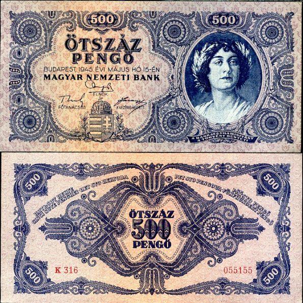 500 Pengő Maďarsko 1945