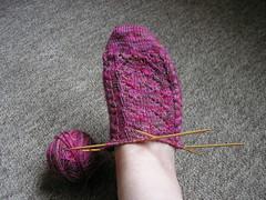 Falling in Love sock in progress