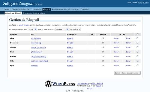 Gestionar Blogroll