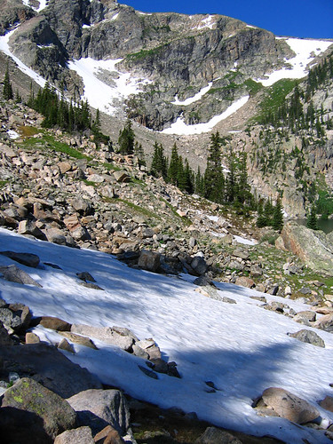 July Snowfields Above Lake Nokoni
