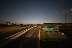 Lost Highway (Prozac74) Tags: sunset switzerland highway intersection vignetting kaiseraugst canonefs1022mmf3545usm liebrüti inthebackground canoneos30d activeassignmentweekly nd1000 emptyurban