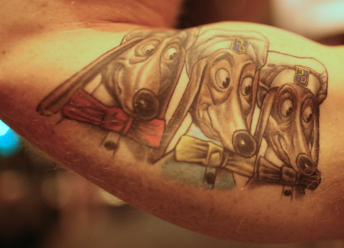 in Brooklyn had the trio of Doggie Diner dog heads tattooed on his arm.