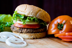 Black Bean and Corn Seitan Burgers (teenytinyturkey) Tags: tomato cookbook vegan burger lettuce onion blackbean seitan