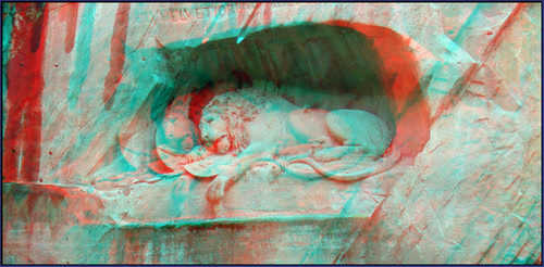 Mary's newest Switzerland--3D anaglyph-the Lion monument of Luzern-2