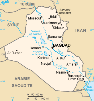 carte de l'Irak
