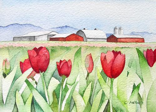 Original Watercolor - Red Tulips La Conner, Washington