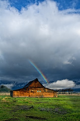Teton-Moulton Barn and Rainbow (Bill Wight CA) Tags: barn nationalpark rainbow wyoming tetons grandteton moultonbarn billwight mountainhighworkshops copyright2010