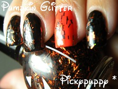 Pumpkin Glitter (pickypuppy) Tags: orange black halloween glitter bar pumpkin polish creme manicure orangecounty blackout nailpolish sallyhansen piggypolish