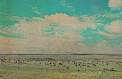 Drive by with texture (Pfish44) Tags: blue newmexico texture clouds desert driveby explore picnik