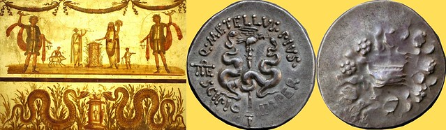 Pergamon coin of Roman magistrate Metellus Scipio 49BC, with snakes and cista-mystica, and Pompeian sacrific scene with altars, pig and two snakes