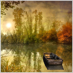 Marcage (Jean-Michel Priaux) Tags: autumn trees sunset shadow sunlight france tree art texture nature fairytale forest photoshop automne river painting landscape boat fishing eau paradise dream reflet alsace paysage fort barque anotherworld carr savage wate sauvage fret littleboat ried refletct squarre priaux rhinau vanagram daubensand