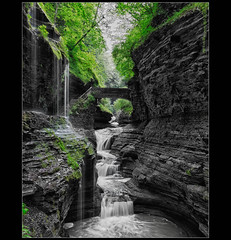 Gorgeous Gorge (Mike Orso) Tags: park new york longexposure bw ny motion water waterfall state silk glen gorge nik hdr watkins selectivecolor silverefex