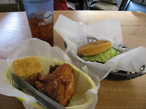 Broasted chicken, fried onion burger, sweet tea