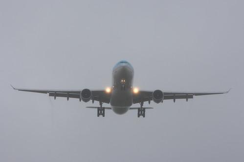 KE's A330 in fog
